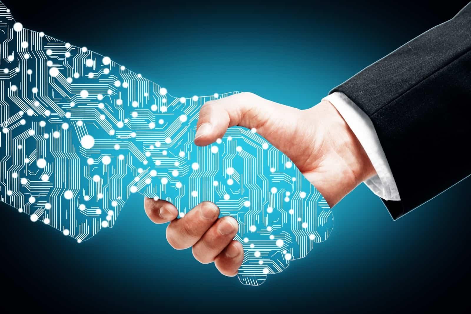 Digital Handshake On Blue Background | ITque