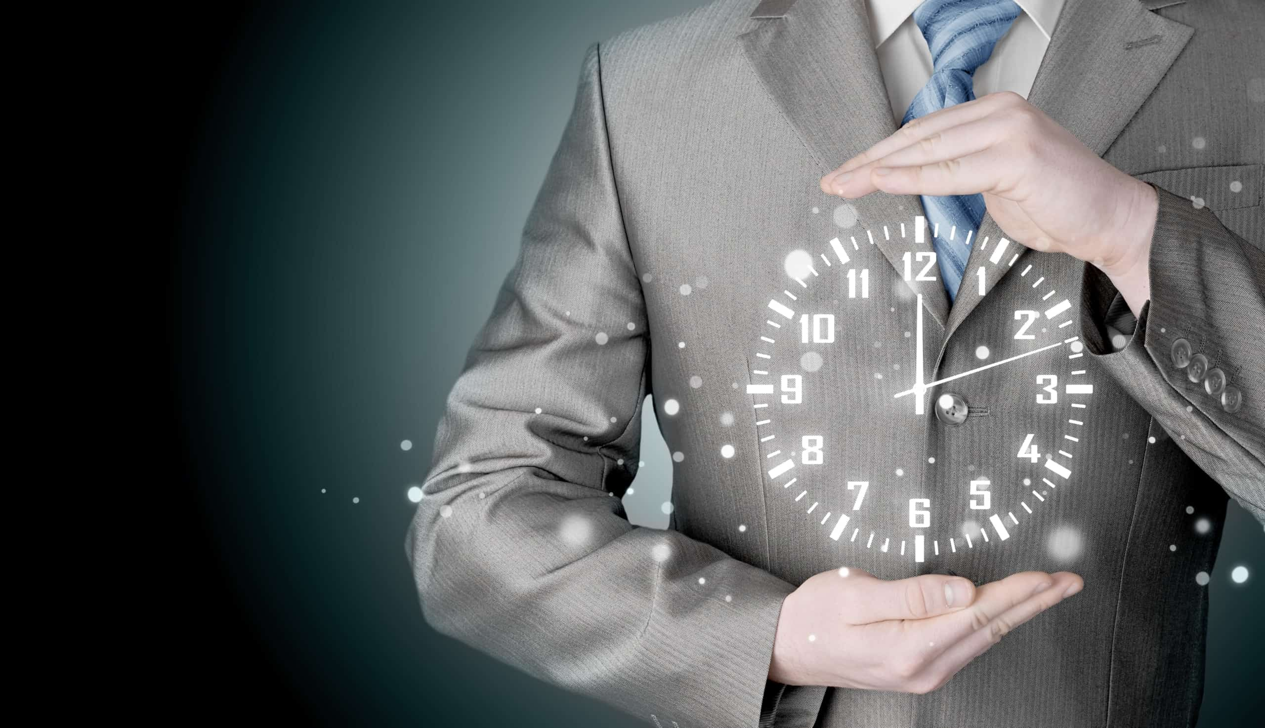 Image Of Businessman Holding Clock Against Illustration Background | ITque