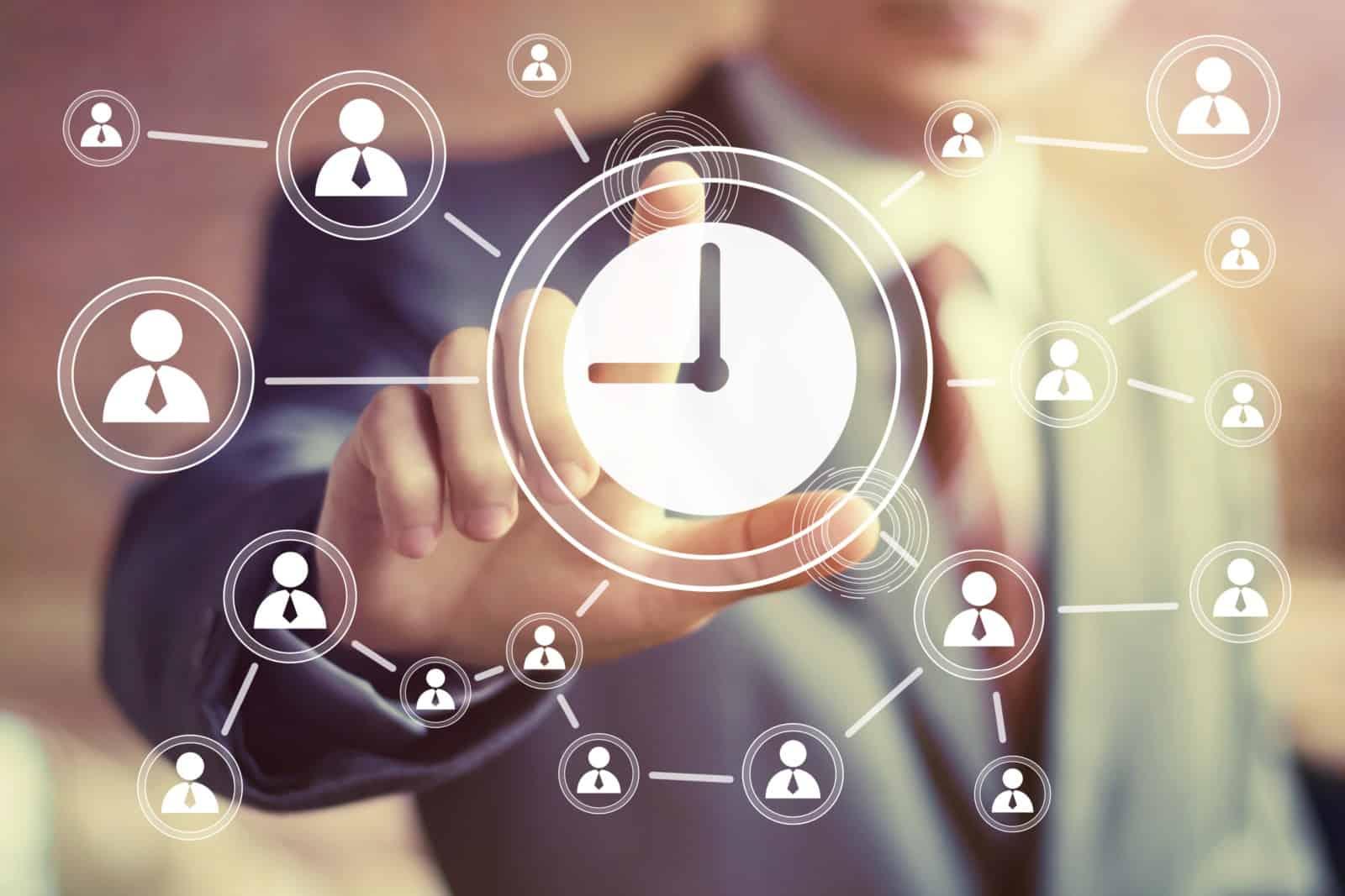 Businessman Hand Press Web Clock Time Sign Button   ITque
